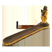 Porte-Encens Bouddha Noir ~ Longueur : 28,00 cm - Largeur : 5,00 cm - Hauteur : 12,00 cm
