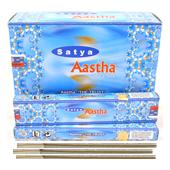 Aastha : Encens Indien Satya ~ Boîte de 12 Étuis de 15 Grammes