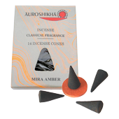 Ambre : Encens Indien Auroshikha ~ Boîte de 14 Cônes + 1 Porte-Encens