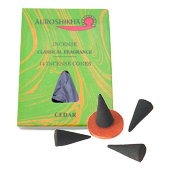 Cèdre : Encens Indien Auroshikha ~ Boîte de 14 Cônes + 1 Porte-Encens