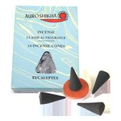 Eucalyptus : Encens Indien Auroshikha ~ Boîte de 14 Cônes + 1 Porte-Encens