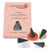 Jasmin : Encens Indien Auroshikha ~ Boîte de 14 Cônes + 1 Porte-Encens