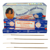 Nag Champa : Encens Indien Satya ~ Bo&icirc;te de 12 &Eacute;tuis de 15 Grammes
