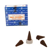 Nag Champa : Encens Indien Satya ~ Bo&icirc;te de 12 C&ocirc;nes + 1 Porte-Encens