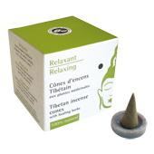 Relaxant : Encens Tib&eacute;tain ~ Bo&icirc;te de 15 C&ocirc;nes + 1 Porte-Encens