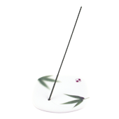 Porte-Encens Porcelaine  Bambou  ~ Longueur : 8,00 cm - Largeur : 8,00 cm