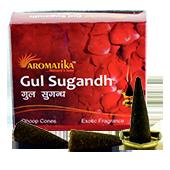 Gul Sugandh : Encens Indien Aromatika ~ Boîte de 20 Cônes + 1 Porte-Encens