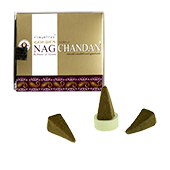 Golden Nag Chandan : Encens Indien Vijayshree ~ Boîte de 10 Cônes + 1 Porte-Encens