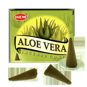 Aloé Vera : Encens Naturel Indien HEM ~ Boîte de 10 Cônes + 1 Porte-Encens