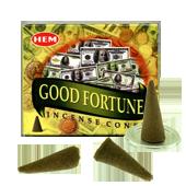 Bonne Fortune : Encens Naturel Indien HEM ~ Boîte de 10 Cônes + 1 Porte-Encens