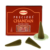 Chandan Précieux : Encens Naturel Indien HEM ~ Boîte de 10 Cônes + 1 Porte-Encens