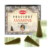 Jasmin Précieux : Encens Naturel Indien HEM ~ Boîte de 10 Cônes + 1 Porte-Encens