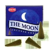 La Lune : Encens Naturel Indien HEM ~ Boîte de 10 Cônes + 1 Porte-Encens