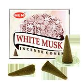 Musc Blanc : Encens Naturel Indien HEM ~ Boîte de 10 Cônes + 1 Porte-Encens