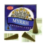 Myrrhe : Encens Naturel Indien HEM ~ Boîte de 10 Cônes + 1 Porte-Encens