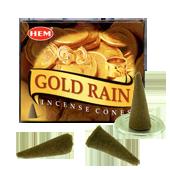Pluie d'Or : Encens Naturel Indien HEM ~ Boîte de 10 Cônes + 1 Porte-Encens