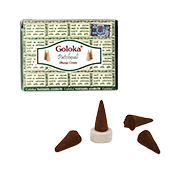 Patchouli : Encens Indien Goloka ~ Boîte de 10 Cônes + 1 Porte-Encens