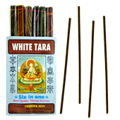 White Tara (Six in One) : Encens Tibétain 100% Naturel ~ Étui de ±84 Bâtonnets