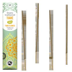 Tiaré : Encens Indien Les Encens du Monde ~ Étui de 20 Bâtonnets