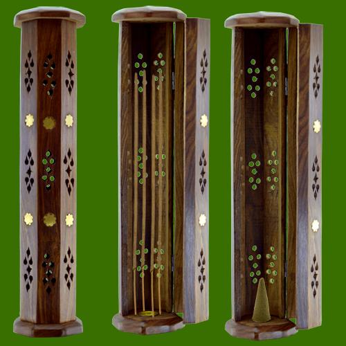 porte encens tour en bois de sheesham encens de qualit. Black Bedroom Furniture Sets. Home Design Ideas