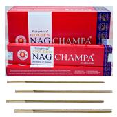 Golden Nag Champa : Encens Indien Vijayshree ~ Boîte de 12 étuis de  15 Grammes
