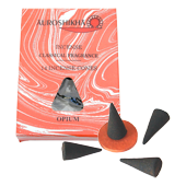Opium : Encens Indien Auroshikha ~ Boîte de 14 Cônes + 1 Porte-Encens