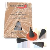 Santal : Encens Indien Auroshikha ~ Boîte de 14 Cônes + 1 Porte-Encens
