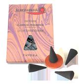 Vanille : Encens Indien Auroshikha ~ Boîte de 14 Cônes + 1 Porte-Encens