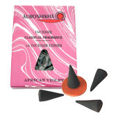 Violette : Encens Indien Auroshikha ~ Boîte de 14 Cônes + 1 Porte-Encens