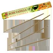 Rose + Vanille : Encens Indien HEM ~ Boîte Hexagonale de 20 Bâtonnets