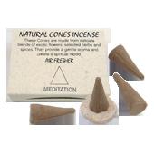 """Méditation : Encens Indien """" Meditation """" ~ Boîte de 25 Cônes + 1 Porte-Encens"""