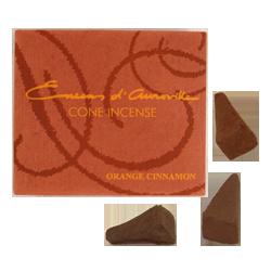Orange + Cannelle : Encens Indien d' Auroville ( Maroma ) ~ Boîte de 10 Cônes