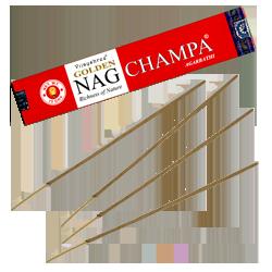 Golden Nag Champa : Encens Indien Vijayshree ~ Étui de 15 Grammes