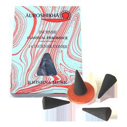 Musc : Encens Indien Auroshikha ~ Boîte de 14 Cônes + 1 Porte-Encens