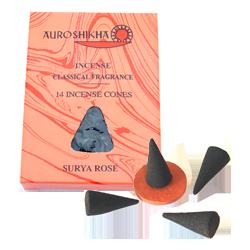 Rose : Encens Indien Auroshikha ~ Boîte de 14 Cônes + 1 Porte-Encens