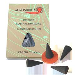 Ylang Ylang : Encens Indien Auroshikha ~ Boîte de 14 Cônes + 1 Porte-Encens