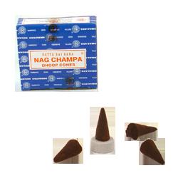 Nag Champa : Encens Indien Satya ~ Boîte de 12 Cônes + 1 Porte-Encens