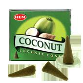 Noix de Coco : Encens Naturel Indien HEM ~ Boîte de 10 Cônes + 1 Porte-Encens
