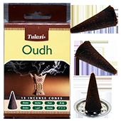 Oudh : Encens Naturel Indien Tulasi ~ Boîte de 15 Cônes + 1 Porte-Encens
