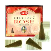 Rose Précieuse : Encens Naturel Indien HEM ~ Boîte de 10 Cônes + 1 Porte-Encens