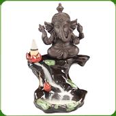 """Fontaine à encens """" Ganesh """" en céramique et en terre cuite"""