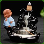 """Fontaine à encens """" Moine Bleu """" en céramique et en terre cuite"""