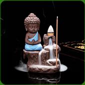 """Fontaine à encens """" Bouddha Bleu """" en terre cuite"""
