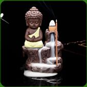 """Fontaine à encens """" Bouddha Vert Pomme """" en terre cuite"""
