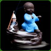 """Fontaine à encens """" Kung-Fu Bleu """" en terre cuite"""