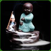 """Fontaine à encens """" Kung-Fu Vert Pâle """" en terre cuite"""