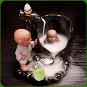 """Fontaine à encens """" Bain """" en céramique et en terre cuite"""