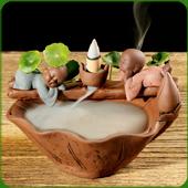 """Fontaine à encens """" Moines se Reposant """" en terre cuite"""