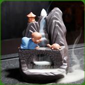 """Fontaine à encens """" Moine et Tortue """" en terre cuite"""