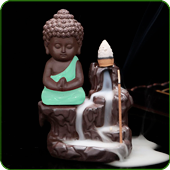 "Porte-Encens Backflow "" Bouddha Bleu Turquoise """